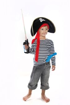 Young Boy Dressed As Pirate Royalty Free Stock Images