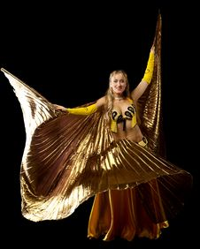 Free Blond Woman Dance With Gold Wing Stock Photo - 18831420