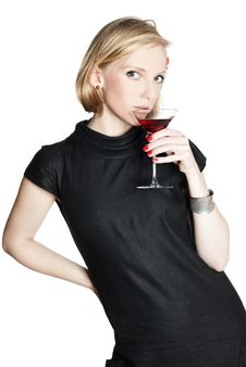 Young Attractive Woman Holding A Glass Of Red Wine Stock Image