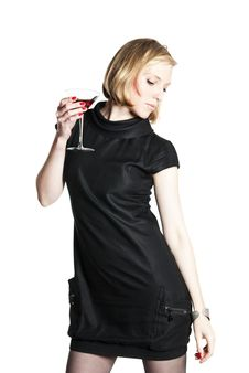 Young Attractive Woman Holding A Glass Of Red Wine Stock Photos