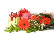 Free Bouquet Gerbera And Present Boxes Stock Photos - 18832383