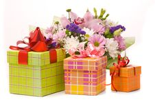 Free Bouquet And Present Boxes Stock Photography - 18832522