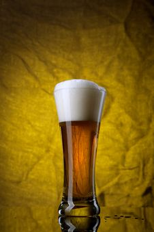 Free Beer In Glass  On Yellow Background Royalty Free Stock Images - 18834929