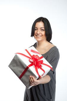 Free Portrait Of Young Smiling Woman With Gift Royalty Free Stock Photo - 18835195