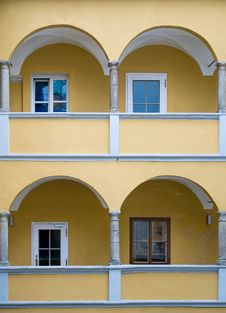Free Arcade Of A Yellow Baroque House Stock Photo - 18835440