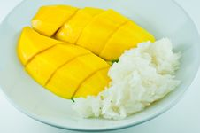 Free Thai Sticky Rice Eat With Mangoes Stock Photography - 18836412