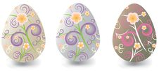 Easter Eggs With Floral Ornaments Stock Images