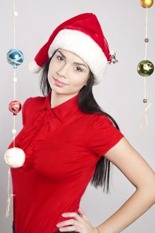 Free Christmas Woman On White Background With A Gift Stock Photo - 18837890