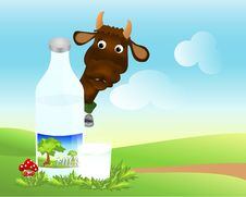 Bottle And Glass With Milk, Cdr Vector Stock Images