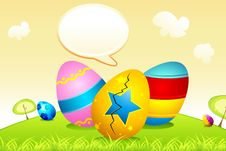 Free Easter Eggs With Speech Bubble Stock Photography - 18839342