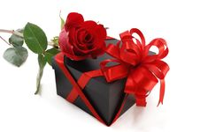 Free Gift Box With A Rose Royalty Free Stock Images - 18839379