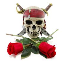 Free Skull And Red Rose Royalty Free Stock Photo - 18839385