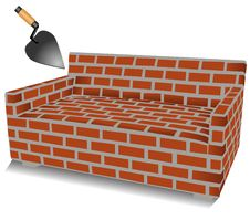 Free Brick Sofa And Trowel Illustration Stock Photo - 18839470