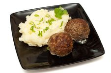 Free Meatballs With Mashed Potato Stock Images - 18839734