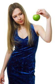 Free Girl In Blue Dress With A Green Apple Stock Images - 18839774