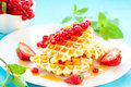 Free Waffles With Berries Royalty Free Stock Photo - 18848255