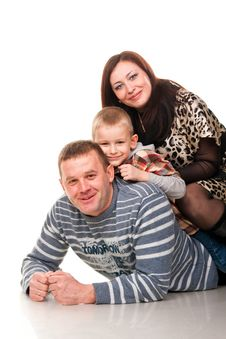 Portrait Of A Young Happy Smiling Family Stock Photo
