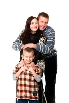 Portrait Of A Young Happy Smiling Family Stock Image