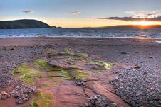 Free Sunset With Algae On Rocks Royalty Free Stock Photo - 18841765