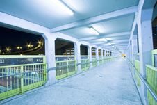 Footbridge With Light Trails In Hong Kong Stock Photography