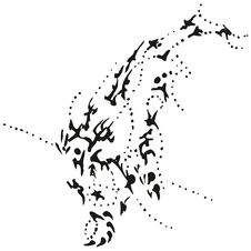 Abstract Stylized B&W Diving Whale Stock Images