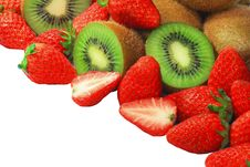 Slices Of Kiwi And Strawberries Royalty Free Stock Images