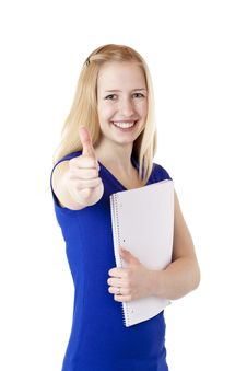 Attractive Blond Female Student Showing Thumb Up Royalty Free Stock Photos