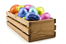 Colorful Easter Eggs In A Wooden Box Royalty Free Stock Photos