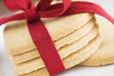 Free Heart Shape Cookies With Red Ribbon Stock Photo - 18846700