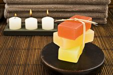Free Soap Candles And Towels In A Spa Stock Photo - 18846730