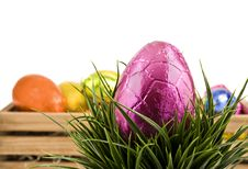 Free Colorful Easter Eggs On White Background Stock Photography - 18846742
