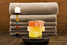 Free Soap Candles And Towels In A Spa Stock Photos - 18846753