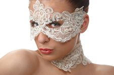Free Woman With Tender Face In Lace Mask Over Her Eyes Royalty Free Stock Photography - 18847727