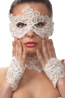 Woman With Tender Face In Lace Mask Over Her Eyes Royalty Free Stock Image