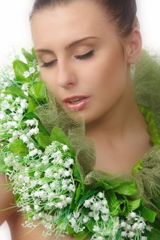 Pretty Naked Woman In Flowers Chaplet Stock Image