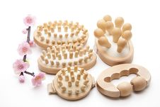 Free Massage Brushes With Flower Royalty Free Stock Photos - 18847808