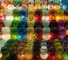 Free Colorful Candle Holders In Egyptian Spice Bazaar Stock Image - 18847831