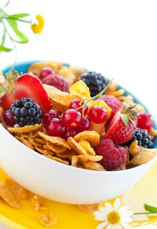 Free Cornflakes And Fruits Royalty Free Stock Images - 18848149
