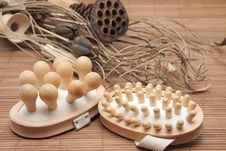 Free Massage Brushes With Dry Flower Royalty Free Stock Images - 18849319