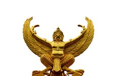 Gold Garuda Statue Stock Photo