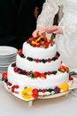 Free Cutting Fresh Wedding Fruitcake Royalty Free Stock Images - 18851949