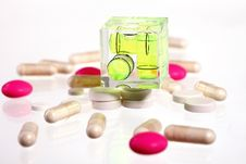 Free Pink And White Pills - Balance Your Health Stock Photos - 18850773