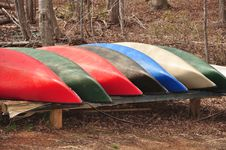 Free Group Of Canoes Royalty Free Stock Photography - 18851477