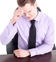 Free Young Businessman With Big Headache, Isolated Stock Images - 18852724