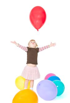 Free The Girl Catches Balloon Stock Photo - 18852830