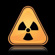 Yellow Triangle Icon Radiation Sign Stock Images