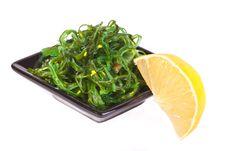 Free Plate With Chuka Salad And Lemon Stock Images - 18853954