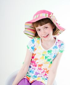 Free Little Girl In Colorful Hat Stock Image - 18854791