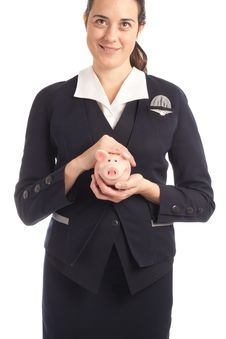 Free Woman And Piggy Bank Stock Image - 18855451
