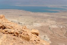 Rocky Desert Landscape Near The Dead Sea Royalty Free Stock Image